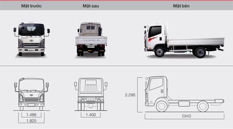 Kích thước xe tải Tera 240L